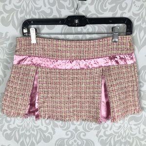 ❤️ Hollister Vintage Pink Tweed Pleated Mini Skirt